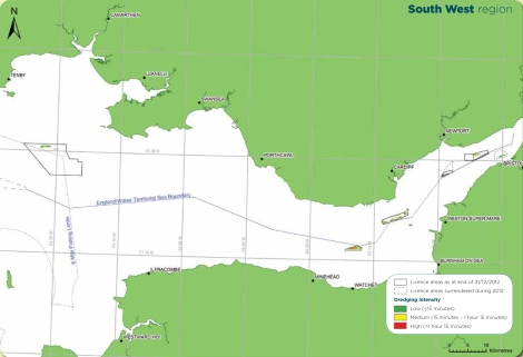 License Areas, Bristol Channel. Source: The Crown Estate and BMAPA. The Area Involved: 15th Annual Report, 2012.