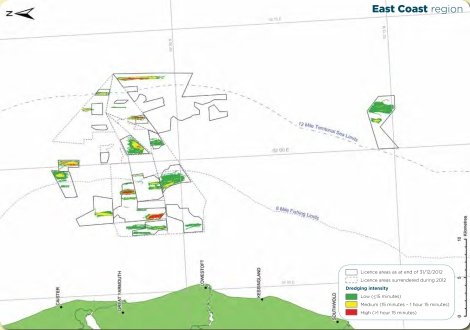 License Areas, East Coast. Source: The Crown Estate and BMAPA. The Area Involved: 15th Annual Report, 2012.