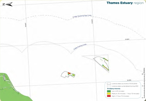 License Areas, Thames Estuary. Source: The Crown Estate and BMAPA. The Area Involved: 15th Annual Report, 2012.