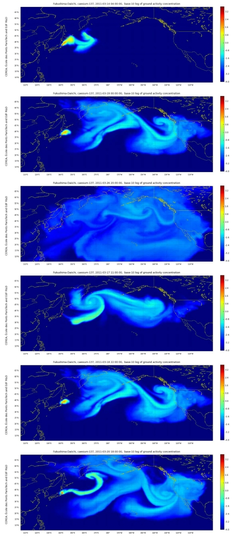 Stills from CEREA's simulation of cesium - 137 dispersion from Fukushima Daiichi from March 11- April 6, 2011. Source: E. Ellsworth and J. Kruze eds. (2013). Making the Geologic Now, 242.