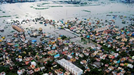 Chennai: An aerial photo of flood relief operation by Indian Coast Guard at flood affected areas of Kanchipuram District on the outskirt of Chennai on Tuesday. PTI Photo(PTI11_17_2015_000055B). Source: https://www.thequint.com/topic/Chennai%20Floods.